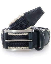 Andersons - Anderson Belts Twin Braided Cream Navy Belt - Lyst