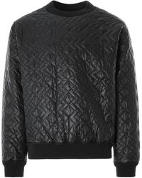 Monitaly Quilted Crewneck Pullover Zigzag Dotera Fill 3oz - Black