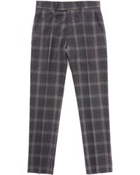 Gibson London Tartan Check Trousers - Charcoal - Gray