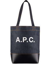 A.P.C. Axelle Denim & Leather Tote-bag-dak Navy-m61444-iak Color: - Blue