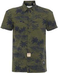 05fe0b356 Schott Nyc Isla Military Hawaiian Shirt Short Sleeve In Green in ...