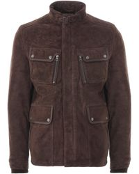Schott Nyc Dunstall Suede Leather Jacket - Brown