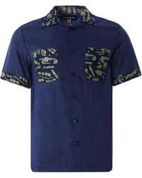 Monitaly Vacation Shirt Lt. Linen Brown X Vin Print - Blue
