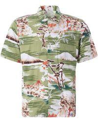 Universal Works Road Shirt Fuji Summer Print - Green