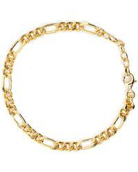 Serge Denimes Gold Plated Silver Figaro Bracelet - Metallic