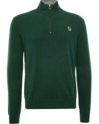 Paul Smith Zebra Logo Cotton-blend Zip-neck Jumper - Green