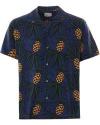 Reyn Spooner Whacky Pineapple Rayon Camp Shirt - Blue