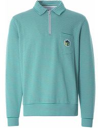 YMC Sugden Cotton Loopback Stripe Zip Sweatshirt - Green