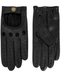 Dents Black Leather Driving Gloves