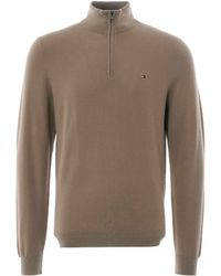 Tommy Hilfiger Textured Zipped Neck Sweater - Natural