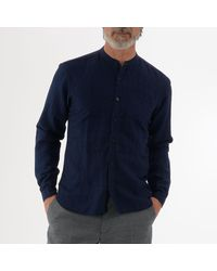 Oliver Spencer Bib Grandad Shirt - Blue