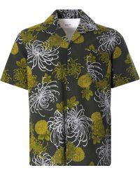 Universal Works Open Collar Shirt Japanese Flower Ii - Green