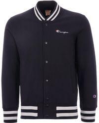 Champion Reverse Weave Bomber Sweat Jacket - Navy - Blue