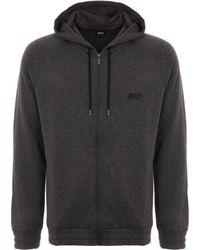 BOSS Cashmere Zip-up Hooded Jacket - Medium Grey - Gray
