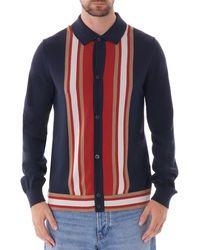 Ben Sherman Long Sleeve Mod Knit Cardigan - Dark Navy - Blue