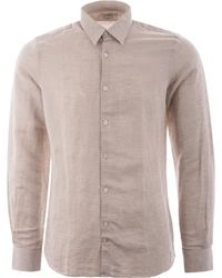 J.Lindeberg Daniel Long Sleeve Linen Shirt - Beige - Natural