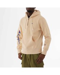 Champion Half Zip Logo Reverse Weave Hoodie - Natural