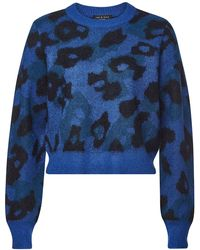 Rag & Bone - Leopard Crew Pullover With Mohair And Alpaca - Lyst