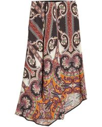 Etro - Printed Asymmetric Skirt With Wool - Lyst