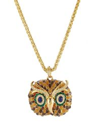 Kenneth Jay Lane - Embellished Owl Necklace - Lyst