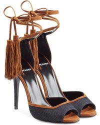 Pierre Hardy - Denim Sandals With Tassel Ankle Tie - Lyst