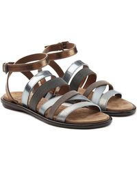 Brunello Cucinelli - Multi Strap Embellished Leather Sandals - Lyst