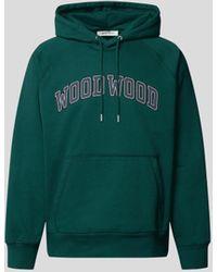 WOOD WOOD Hoodie mit Label-Print - Grün