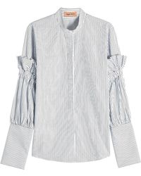 Maggie Marilyn - Striped Cotton Shirt With Ruffles - Lyst