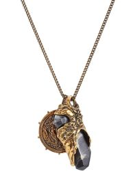 Alexander McQueen - Necklace With Medallion And Stone - Lyst
