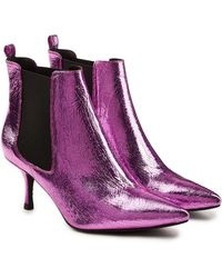 Anine Bing - Stevie Metallic Leather Ankle Boots - Lyst