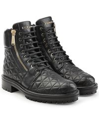 Balmain - Quilted Leather Ankle Boots - Lyst
