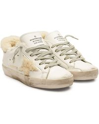 Golden Goose Deluxe Brand - Super Star Leather Trainers With Shearling - Lyst