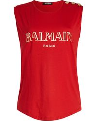 Balmain - Cotton Tank With Embossed Buttons - Lyst