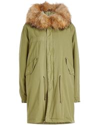 Mr & Mrs Italy - Cotton Parka With Leather And Raccoon Fur - Lyst