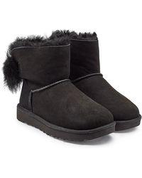 138e4e927e6 Fluff Bow Mini Suede Boots - Black