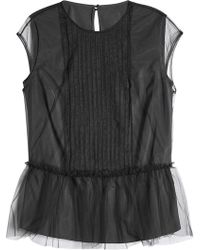Brunello Cucinelli - Top With Chiffon Overlay - Lyst