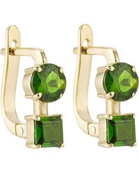 Ileana Makri - 18k Yelow Gold Earrings With Chrome Diopside - Lyst