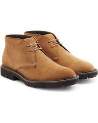 Tod's - Desert boots en cuir velours fourré - Lyst