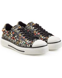 Valentino - Stud Embellished Printed Leather Sneakers - Lyst