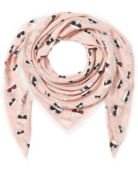 Karl Lagerfeld - K/ikonik Face Printed Scarf With Silk - Lyst