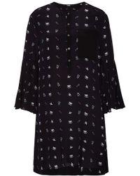Karl Lagerfeld - Printed Silk Dress With Bell Sleeves - Lyst