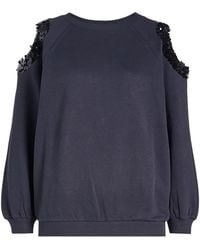 Nina Ricci - Cotton Sweatshirt With Sequin Embellished Cold Shoulders - Lyst