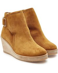 A.P.C. - Virginie Suede Ankle Boots With Faux Fur - Lyst