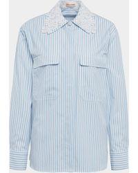 Custommade• Bluse mit Häkelspitze - Blau