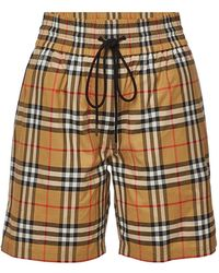 Burberry - Dovenmoore Checked Cotton Shorts - Lyst