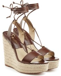 Michael Kors - Leather Espadrille Wedge Sandals - Lyst