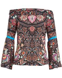 Etro - Off-shoulder Printed Silk Blouse - Lyst