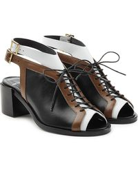 7b022c7565dc Pierre Hardy Colorblock Canvas and Patentleather Wedge Sandals in ...