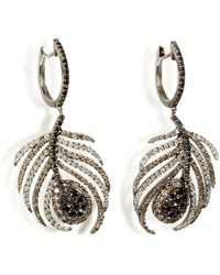 Nikos Koulis - Black Rhodium/diamond Paradise Peacock Earrings - Lyst
