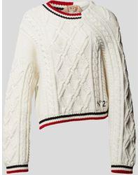 N°21 Pullover mit Strickmuster - Natur